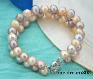 【送料無料】ブレスレット アクセサリ― ピンクパープルラウンドパールブレスレット2strands 810mm pink purple round freshwater pearl bracelet