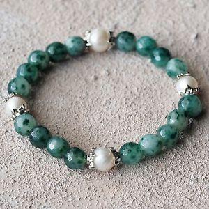 【送料無料】ブレスレット アクセサリ― ブレスレットビードグリーンダークグリーンホワイトビーズブレスレット bracelet with 8mm agate gemstone beads in greendark greenwhite beads bracelet