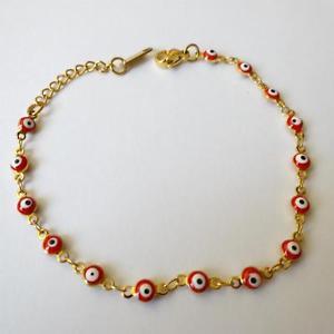 【送料無料】ブレスレット アクセサリ― レディースメンズブレスレットギリシャスチールゴールドカラーwomens mens bracelet greek eye steel gold color and red 143 aa