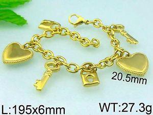 【送料無料】ブレスレット アクセサリ― ゴールドステンレススチールブレスレット7 1116  6 charm gold toned stainless steel bracelet b51