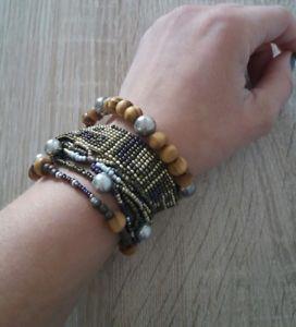 【送料無料】ブレスレット アクセサリ― カフブレスレットマグネットクラスプシルバーウッドパールパープルlarge cuff bracelet magnet clasp silver wood pearl purple