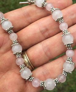 【送料無料】ブレスレット アクセサリ― ローズクォーツビーズブレスレットhandmade silver plated natural rose quartz gemstone beaded bracelet