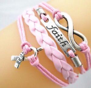 【送料無料】ブレスレット アクセサリ― ピンクリボンブレスレットpink infinity faith cancer ribbon sign hope leather braided bracelet