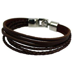 【送料無料】ブレスレット アクセサリ― ブラウンストラップステンレススチールbrown genuine leather strap 21 cm stainless steel