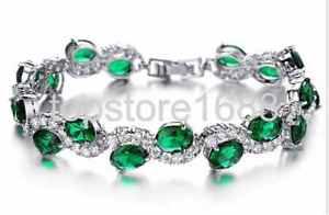 【送料無料】ブレスレット アクセサリ― グリーンカラーブレスレットクリスタル trendy green color bracelets luxury crystal wedding women jewelry