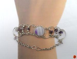 【送料無料】ブレスレット アクセサリ― エスニックブレスレットアルパカethnic bracelet semi precious stone purple mottled silver quatrz of alpaca