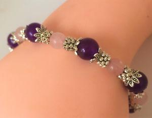 【送料無料】ブレスレット アクセサリ― アメジストローズクォーツビーズブレスレット listinghandmade silver plated natural amethyst amp; rose quartz gemstone beaded bracelet