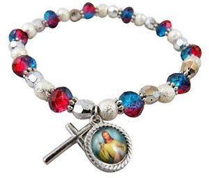 Bonyak Jewelry 18 Inch Rhodium Plated Necklace w// 6mm Purple February Birth Month Stone Beads and Divine Mercy Charm