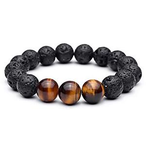 【送料無料】ブレスレット アクセサリ― メンズタイガーアイビーズブレスレットmens 12mm tigers eye stones carved with dragon natural beaded bracelets