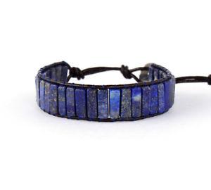 【送料無料】ブレスレット アクセサリ― ブレスレットスクエアラピスラズリビンテージbracelets square shape lapis lazuli single leather wrap vintage