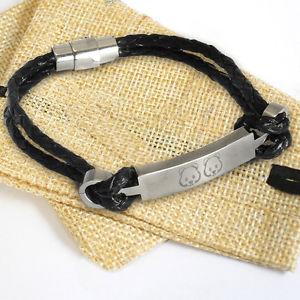 【送料無料】ブレスレット アクセサリ― ブレスレットパーソナライズスチールバーバッグleather id identity bracelet personalised engraved steel bar charm amp; gift bag
