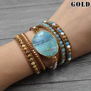 【送料無料】ブレスレット アクセサリ― オーシャンジャスパーブレスレットバレンタインラップcalming ocean jasper stone bracelet valentines gift mixed natural gilded wrap