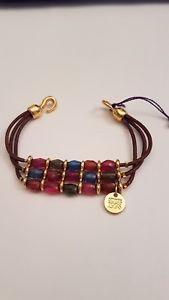 【送料無料】ブレスレット アクセサリ― ハンドメイドゴールドブラウンレザービーズブレスレットciclon handmade gold with brown leather and beads bracelet bnwt sz s