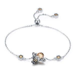 【送料無料】ブレスレット アクセサリ― スターリングシルバーダンスチェーンリンクブレスレットクリスタルビッグ925 sterling silver dancing honey bee chain link women bracelet crystal big t7b2