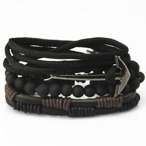 【送料無料】ブレスレット アクセサリ― メンズアンカービーズレザーブレスレットmens anchor bead leather bracelets