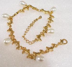 【送料無料】ブレスレット アクセサリ― ファッションホワイトパールドルフィンブレスレットインチfashion1uk women white pearl 18kgp gold plated dolphin bracelet 75 15 inches