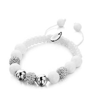 【送料無料】ブレスレット アクセサリ― シムラーブレスレットシルバーロープビーズshimla bracelet white and silver beads with silver fireballs on white rope