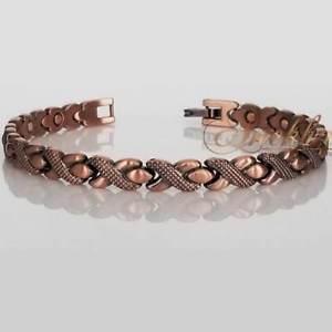 【送料無料】ブレスレット アクセサリ― リンクブレスレット75 xclnt xoxo copper magnetic link bracelet women vtg finish arthritis hd149