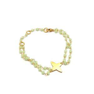 【送料無料】ブレスレット アクセサリ― handmade green chalcedony gemstone beaded22kyellow gold plated braceletshandmade green chalcedony gemstone beaded 22k yell