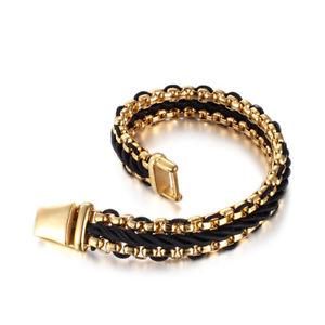 【送料無料】ブレスレット アクセサリ― ステンレスroloチェーンwwristhand866stainless steel fashion rolo chain bracelet w leather braided wristhand 866