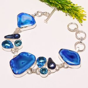 blue agate 【送料無料】ブレスレット gemstone sb1792 druzy jewelry アクセサリ― topaz druzyトパーズジュエリーブレスレットsb1792blue fashion bracelet