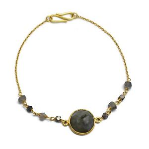 【送料無料】ブレスレット アクセサリ― natural labradorite gemstone handmade beaded22kyellow gold plated braceletsnatural labradorite gemstone handmade beaded 22