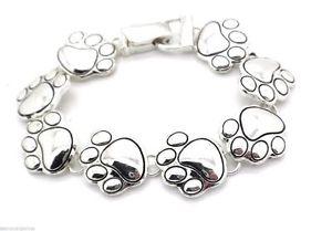plated women アクセサリ― silver bracelet paw ブレスレット 【送料無料】ブレスレット foldover charm dog magnetic