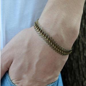 【送料無料】ブレスレット アクセサリ― アンティークブロンズフィッシュボーンチェーンブレスレットスパインspine shaped for men antique bronze fishbone chain bracelet handmade jewelry