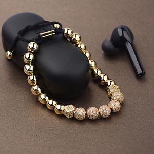 【送料無料】ブレスレット アクセサリ― インペリアルメンズマイクロキュービックジルコンクラウンブレスレットimperial mens 8mm gold plated cz copper micro pave cubic zircon crown bracelets
