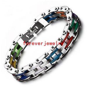 【送料無料】ブレスレット アクセサリ― ステンレススチールチェーンファッションシリコンブレスレット×mutilcolor stainless steel chain fashion silicone men women bracelet 811*10mm