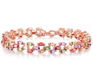 【送料無料】ブレスレット アクセサリ― kローズゴールドグランプリオーストリアカラークリスタルジルコンブレスレット18k rose gold gp austrian color crystal zircon bracelet lady hand chain