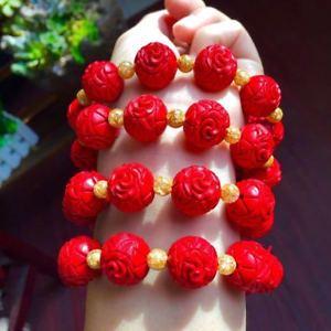 【送料無料】ブレスレット アクセサリ― パターンブレスレットデザインcinnabar vermilion carve patterns or designs on woodwork carving bracelet