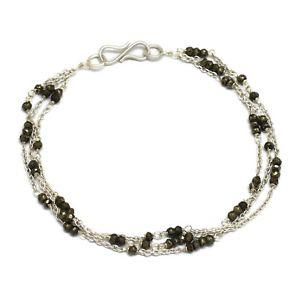 【送料無料】ブレスレット アクセサリ― ビーズハンドメイドダブルラインブレスレットsilver plated beaded pyrite gemstone handmade double line bracelets jewelry