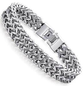 【送料無料】ブレスレット アクセサリ― ステンレススチールパンクバイカーブレスレットストランドチェーンブレスレットstainless steel 12mm twostrand wheat chain bracelet for men punk biker bracelet