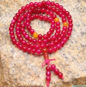 【送料無料】ブレスレット アクセサリ― ローズレッドビーズブレスレットnatural crystal rose red chalcedony 108 buddhism bead bracelet