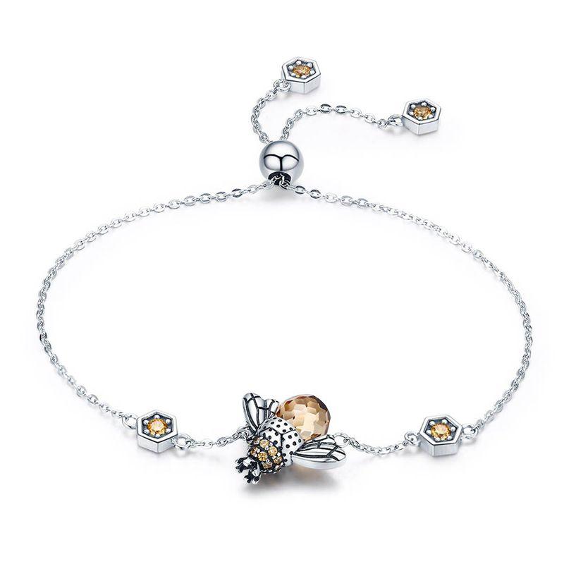 【送料無料】ブレスレット アクセサリ― スターリングシルバーダンスチェーンリンクブレスレット925 sterling silver dancing honey bee chain link women bracelet crystal big s kc