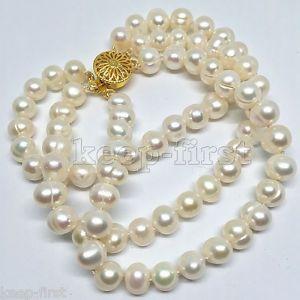 【送料無料】ブレスレット アクセサリ― ファッションホワイトアコヤブレスレットwomens fashion 3rows 78mm natural white akoya freshwater pearl bracelet 75