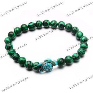【送料無料】ブレスレット アクセサリ― マラカイトターコイズストレッチヨガブレスレット10ps turtle man women natural malachite turquoise stone stretch yoga bracelet
