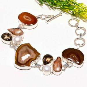【送料無料】ブレスレット アクセサリ― ウィンドウエスニックファッションジュエリーブレスレットbrown window druzy smoky gemstone ethnic fashion jewelry bracelet sb1732