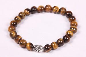 【送料無料】ブレスレット アクセサリ― ラウンドメタルビーズゴムブレスレットブレスレットビーズ listingtigers eye round beads with skull metal beads rubber bracelet,gemstones bracelet