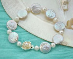 【送料無料】ブレスレット アクセサリ― 8 15mmコイン8 15mm coin white freshwater pearl bracelet