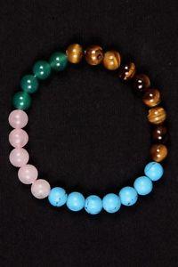 【送料無料】ブレスレット アクセサリ― グリーンオニキスターコイズローズクオーツビーズゴムブレスレット listingtiger eye,green onyx,turquoise and rose quartz beads rubber bracelet