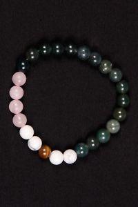 【送料無料】ブレスレット アクセサリ― メノウローズクォーツタイガーアイラバーブレスレットビーズブレスレット listingmoss agate,rose quartz,tiger eye and howlite rubber bracelet,round bead bracelet