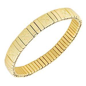 【送料無料】ブレスレット アクセサリ― ステンレススチールクローバーレディースストレッチブレスレットstainless steel yellow goldtone clover womens stretch bracelet