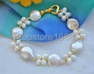 【送料無料】ブレスレット アクセサリ― ピンクコインホワイトライスパールブレスレット8 14mm pink coin white rice freshwater pearl bracelet