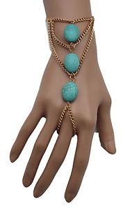 【送料無料】ブレスレット アクセサリ― メタルハンドチェーンファッションブレスレットスレーブリングwomen gold metal hand chain fashion bracelet slave ring finger turquoise blue