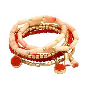 【送料無料】ブレスレット アクセサリ― 6ピンクゴールドブレスレットwomens 6 row stretch pink, gold and coral bead bracelet