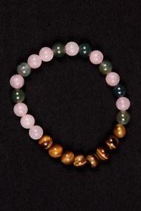 【送料無料】ブレスレット アクセサリ― コケアクアローズクォーツビーズゴムブレスレット listingtiger eye,moss aqua and rose quartz beads rubber bracelet