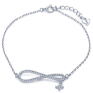 【送料無料】ブレスレット アクセサリ― シンボルクロス925スターリングczブレスレットチェーンinfinity symbol cross charm womens 925 sterling silver cz bracelet chain gift