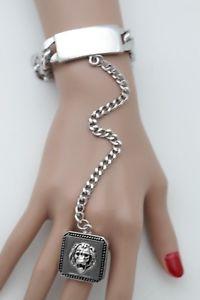 【送料無料】ブレスレット アクセサリ― チェーンブレスレットファッションジュエリーライオンスレーブリングヒップホップwomen silver metal hand chain bracelet fashion jewelry lion slave ring hip hop